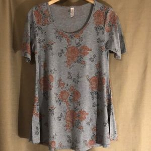 LuLaRoe Tops - NEW LULAROE GRAY FLORAL W/ROSES XS TUNIC TOP/DRESS